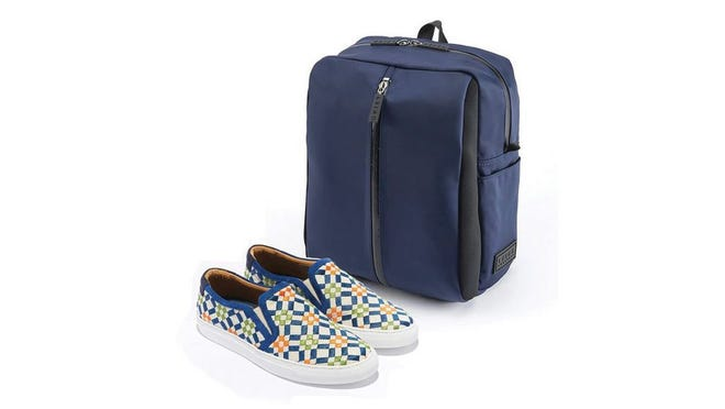 Leigh travel bags feature adjustable compartments to store your footwear and a special anti-microbial lining. Need shoes to fill those compartments? Azzul features a nautically inspired collection of athletic footwear for men and women.