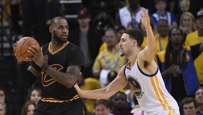 LeBron James is defended by Klay Thompson during the second half of Game 2 of the 2017 NBA Finals.