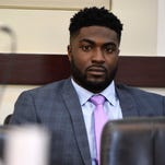 Former Vanderbilt football player Cory Batey sits and watches before court gets started during his trial Wednesday, April 6, 2016, in Nashville, Tenn. Batey and three other former players are charged with raping a student in a dorm in June 2013.
