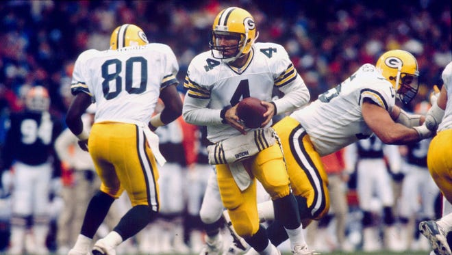 Brett Favre, shown in 1992, was acquired by the Packers  in mid-February from Atlanta for a first-round draft choice.