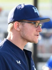 Hardin Valley Academy baseball coach Joe Michalski during a game on April 25, 2014. Michalski and assistant coach Zach Luther have been placed on paid leave from their coaching duties by Knox County Schools, but are continuing their teaching roles at Hardin Valley, according to a schools spokeswoman.