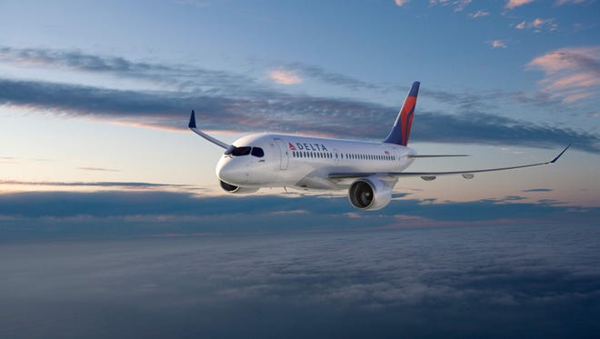 This rendering shows a Bombardier CS 100 in the colors of Delta Air Lines.