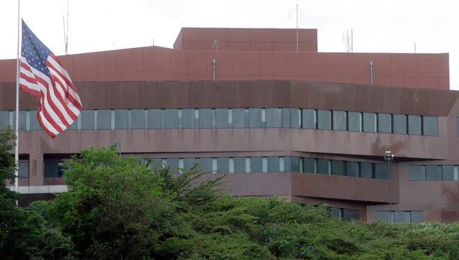 This Sept. 12, 2008 file photo shows the U.S. embassy in Caracas, Venezuela. Venezuelan President Nicolas Maduro said on Monday,
