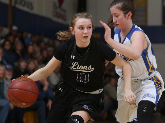 Redding Christian sophomore guard Sadie Alexander (left) was one of five Lions players to earn all-league honors for the 2017-18 season.