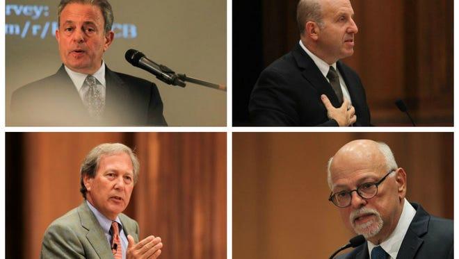 Clockwise from top left, Michael Bernstein, Marvin Krislov, Joseph Steinmetz and J. Bruce Harreld, are all finalists to be the next University of Iowa president.