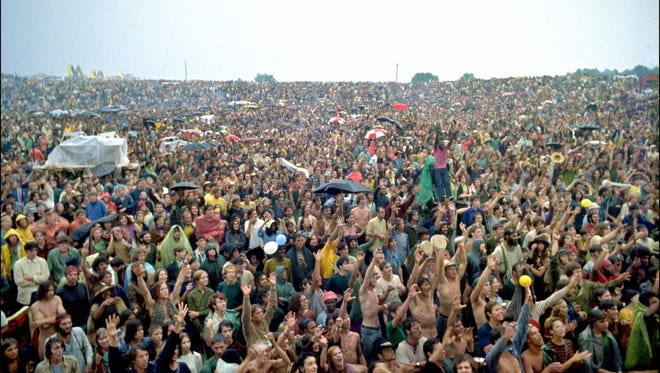 The crowd at the Woodstock festival in Bethel, New York in August 1969.