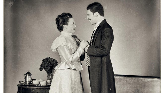 """Stephanie Herlihy and Eric Berger star as Lady and Lord Windermere in the Binghamton University production of """"Lady Windermere's Fan."""""""