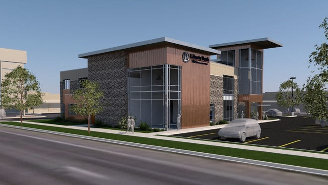 Concept artwork shows the planned new headquarters for Liberty Bank Minnesota, to be located at the intersection of 29th Avenue and Second Street South in St. Cloud.
