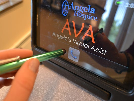 Angela Hospice's computer tablet, AVA, offers video communication between patient and nurses.