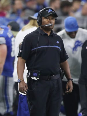 Lions head coach Jim Caldwell on the sideline in the second half Thursday, Nov. 24, 2016 at Ford Field in Detroit.
