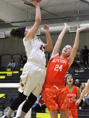 Alamogordo's Darian Cosgray, left, takes a shot at the basket while being guarded by Artesia's Laci Taylor.