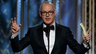 'Birdman' star Michael Keaton, who won best actor in a comedy at the Golden Globes, thanked his best friend/son, Sean.