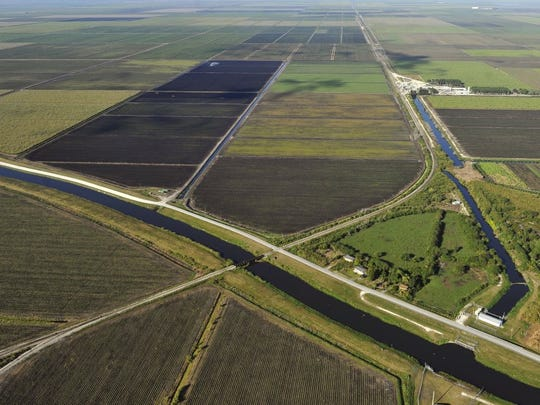 Farm and sugar lands south of Lake Okeechobee are seen