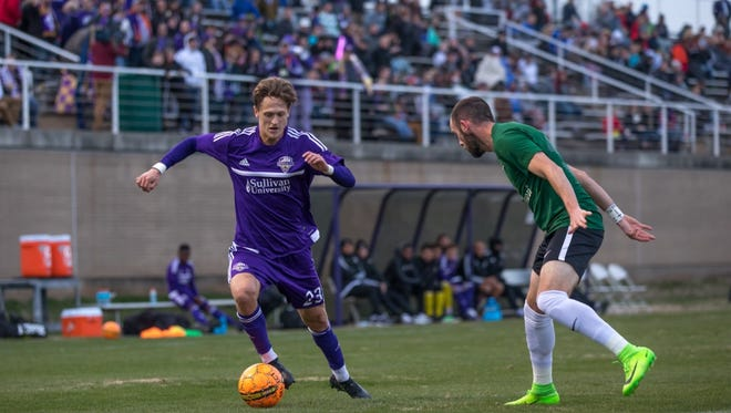 Defending United Soccer League champion Louisville City FC and St. Louis FC played a friendly at the University of Evansville's Arad McCutchan Stadium on March 10, 2018.