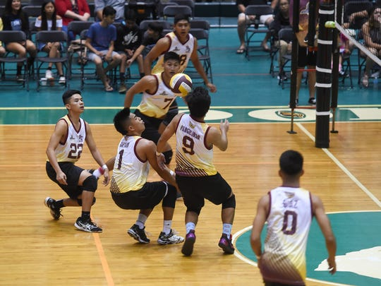 The Father Duenas Friars went head-to-head with the Tiyan High Titans for the Independent Interscholastic Athletic Association of Guam Boys' Volleyball Championship at the University of Guam Calvo Field House on May 12, 2018.