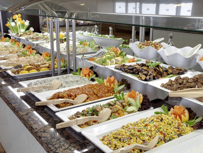 then and now cruise ship buffets