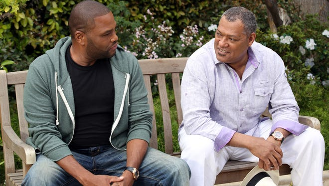 "Laurence Fishburne (right) and Anthony Anderson star as father-son on ABC's ""Black-ish."""