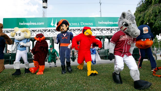 The ACC Mascots at Churchill Downs in Louisville, Kentucky.       June 30, 2014
