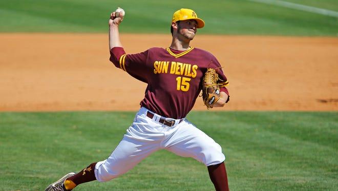 April 21, 2013 - ASU pitcher Darin Gillies throws against Valparaiso during a game last season.