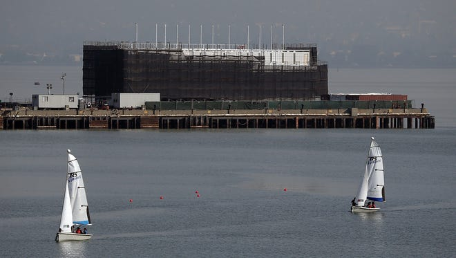 A barge under construction is docked at a pier on Treasure Island on Oct. 30, 2013, in San Francisco.