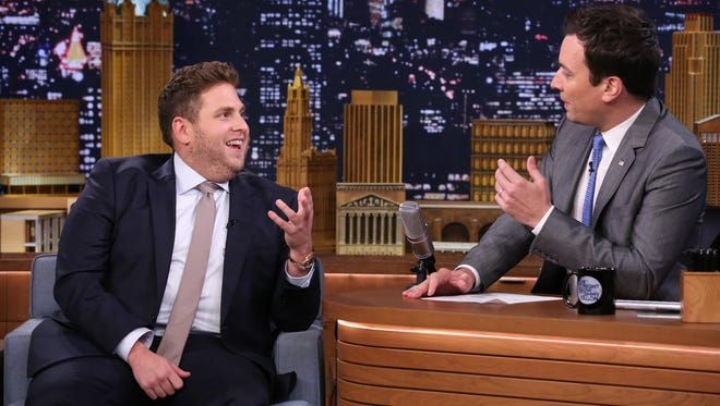Jonah Hill, left, with host Jimmy Fallon during a taping June 3 of 'The Tonight Show Starring Jimmy Fallon' in New York.