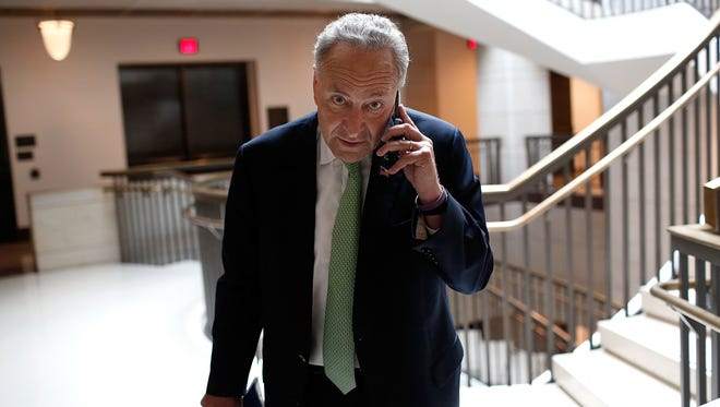 Sen. Charles Schumer arrives for a briefing  for members of the U.S. Senate, Sept,11.
