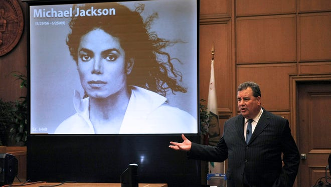 Brian Panish, attorney for the Michael Jackson family delivers his closing argument to jurors in a packed courtroom in downtown Los Angeles on Sept. 24.