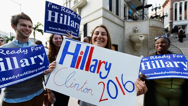 """Volunteers with the national organization """"Ready for Hillary'' held a rally in Beverly Hills, Calif., in May."""