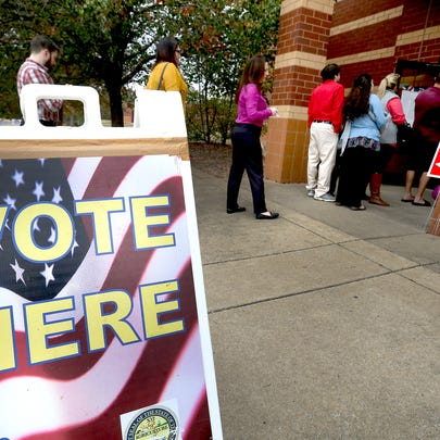 Voters are lined out the door to vote early on Election