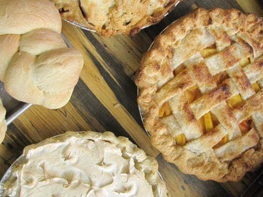 Specialty pies and breads prepared as special orders for Thanksgiving customers at Hickory Bar-B-Que.