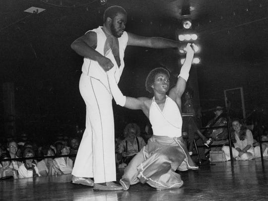 """Kennty Johnson and Carole Turner danced their way to an all-expense paid trip to syndicated TV show """"Dance Fever"""" at Picadilly night club in 1981."""