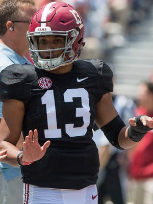Alabama quarterback Tua Tagovailoa (13) before the A-Day Game at Bryant-Denny Stadium on the University of Alabama campus in Tuscaloosa, Ala. on Saturday April 21, 2018.