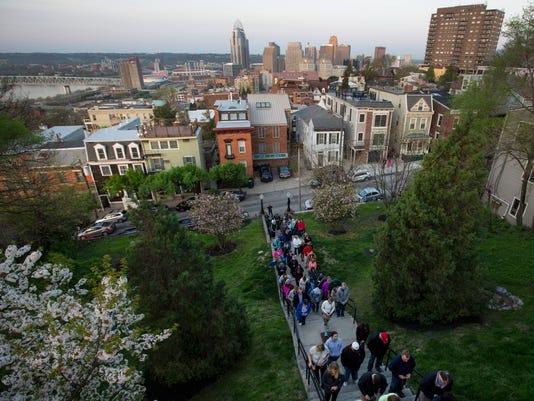 April 14, 2017: Holy Cross - Immaculata church, Mt. Adams, Good Friday, Catholic, Rosary, Cincinnati, Liz Dufour