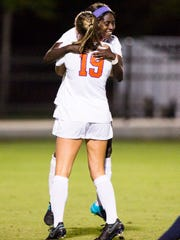 Clemson senior midfielder Catrina Atanda hugs teammate Clemson redshirt senior midfielder Jenna Polonsky after scoring the first goal of the game against Syracuse on Sept. 22 in Clemson.