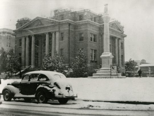 This photo shows the old Alexandria City Hall after a snowfall in the 1930s.