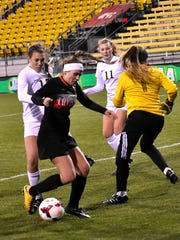 Brooke Harden looks to take an incoming corner kick