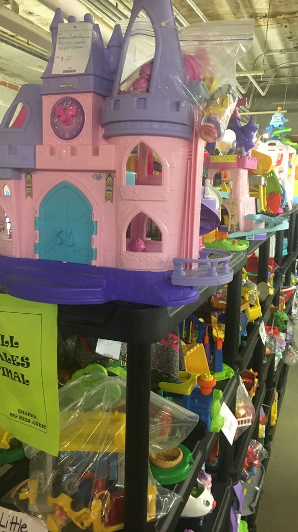 Toys and clothes fill shelves at a sprawling Montgomery