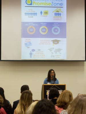 Sanah Baig, USDA adviser to Secretary Vilsack, speaks to the crowd during the SWFL Promise Zone Kickoff meeting at Immokalee Technical College on Thursday, Sept. 22, 2016. The 10-year program, which aims to help high-poverty areas across the country, will provide each designated zone with preferred access to certain federal grants, the support of a federal employee who will work full-time to help communities implement goals and get access to federal programs, help from another employee who will advocate for the communities before federal agencies, and the help of up to five full-time AmeriCorps Vista members.