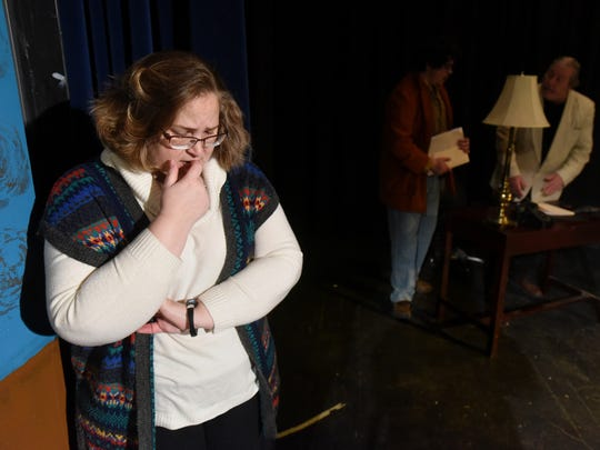 Jymi Rogers rehearses a scene from the thriller 'Deathtrap' Jan. 21 at the Spotlight Theater at Farmington High School.