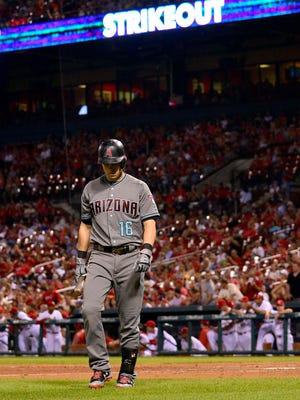 Jul 28, 2017: Arizona Diamondbacks shortstop Chris Owings (16) walks back to the dugout after striking out during the ninth inning against the St. Louis Cardinals at Busch Stadium.