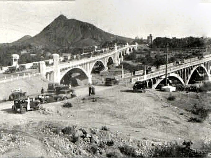 THEN: The Mill Avenue Bridge (left) on its dedication