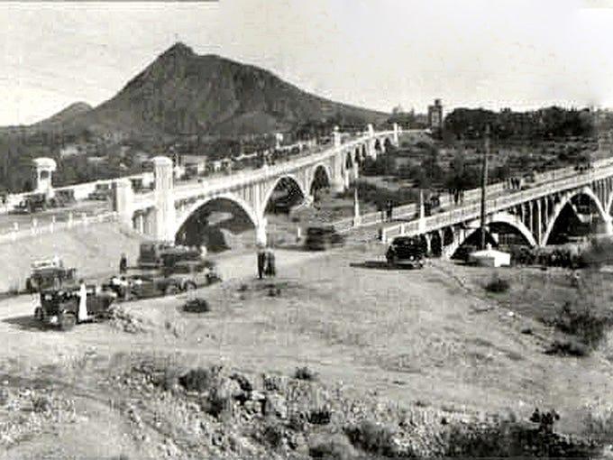 THEN: The Mill Avenue Bridge (left) on its dedication