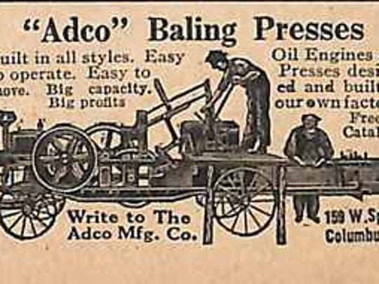 An advertisement for a stationery hay press or hay baler. Farmers brought hay and grass to the press for processing into bales.