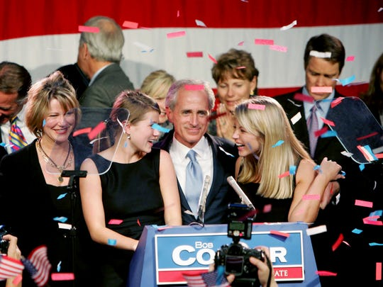Nov. 7, 2006: Bob Corker, center, celebrates his U.S. Senate victory with his family and supporters at The Chattanoogan Hotel in Chattanooga.
