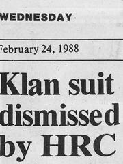 submittedfrom York Daily Record 1988Klan suit dismissed by HRCfor Jim's blog