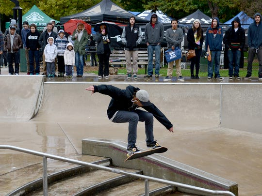 Adam Draus of Green Bay wins the skateboard contest for the 16 and older age group during the 5th annual Going Big in the Bay at Joannes Sk8 Park in Green Bay on Saturday, October 4, 2014.