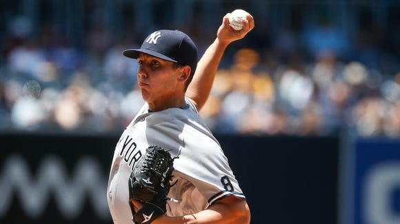 New York Yankees starting pitcher Chad Green throws against the San Diego Padres in the first inning of a baseball game, Sunday, July 3, 2016, in San Diego.