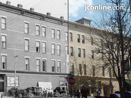 The Lahr Hotel at Main and Fifth streets, 1889 compared to 2013.