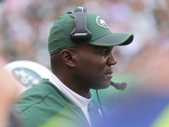 Jets head coach Todd Bowles watching the game from the sidelines.