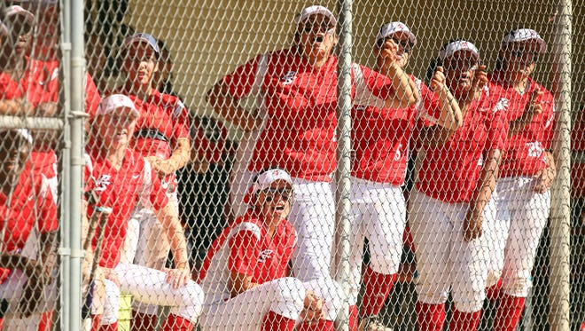 Palm Springs Indians (red and white) take on La Quinta Blackhawks (navy and white) on Tuesday, April 12, 2016, in Palm Springs. The Indians won, 7-4.